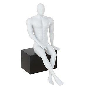 3D model mannequin sits box 138