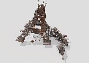 Destroyed Eiffel Tower model