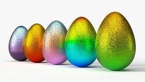 3D glittering easter egg gradient model