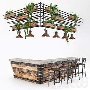 3D model Restaurant Bar counter