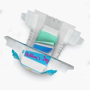 3D Baby Diaper model