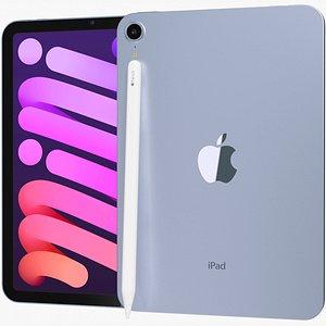 3D Apple iPad mini 2021 6th gen WiFi and Cellular with Pencil Purple