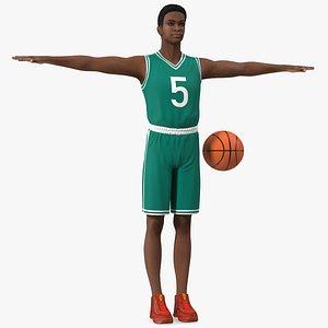 3D Light Skin Teenager Basketball Player T Pose