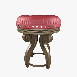 3D stool royale wooden