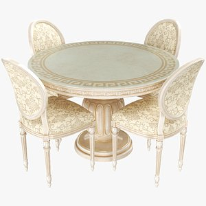 Round Dining Table With Chairs 3D model