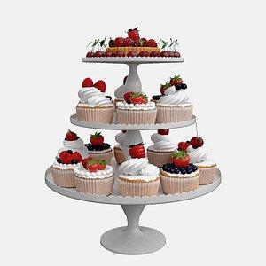 Dessert cupcakes 3D model 3D