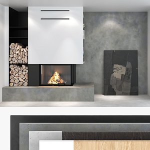 Fireplace and Firewood set 02 3D model