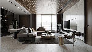 Livingroom Kitchen room 3D model