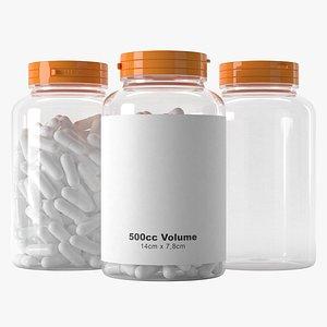 3D pills jar 500cc