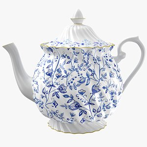3D Teapot Blue Flowers