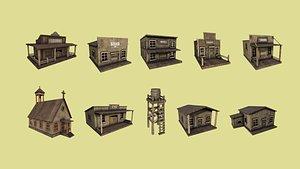 10 wild west building 3D model