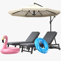 Sun Lounger With Pool Toys
