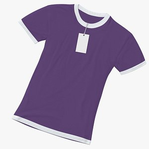 Female Crew Neck Laiying With Tag White and Purple 01(1) 3D model
