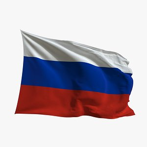 Realistic Animated Flag - Microtexture Rigged - Put your own texture - Def Russia 3D model