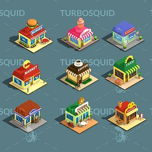 3D Low Poly Stores House ver 2 Isometric Low-poly 3D model
