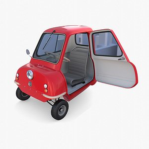 Peel P50 Red with interior and chassis 3D