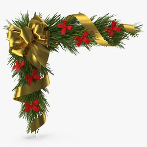Christmas Corner Decoration with Bows and Ribbon 2 3D model