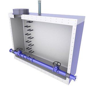 Sewage Concrete Water Meter Well Diagram Inside 5 3D model