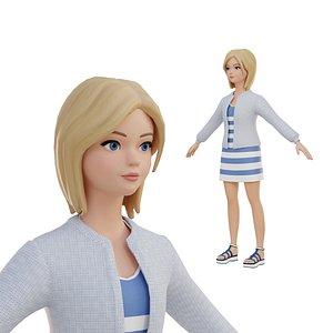 3D model Cute girl blonde