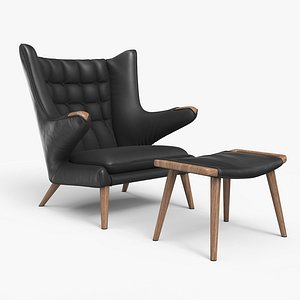 3D Papa Bear Chair And Ottoman Black Leather