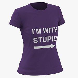 3D model Female Crew Neck Worn Purple Im With Stupid 02