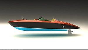 3D boat speedboat retro