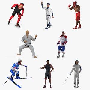 athletes rigged 3D