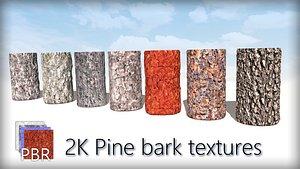 Pine Trees Bark PBR 2k tile textures wood materials Texture