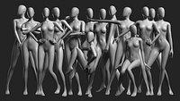 Animated Female Mesh 14 poses v3