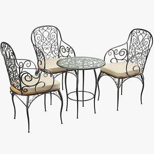 3D real café table chair