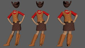 cowgirl child costume ready 3D