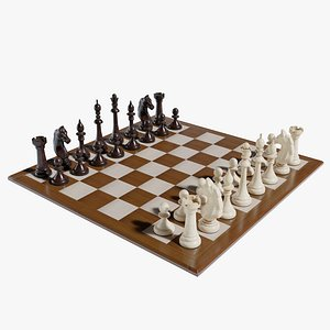 3D Wooden Chess Low poly model