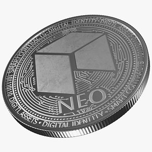 3D neo cryptocurrency coin silver model