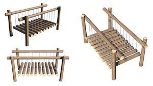 3D model Playground Wooden Log Balance Beam