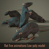 Rat five animations Low-poly 3D model