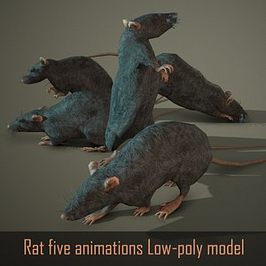 3D low-poly animations rat model