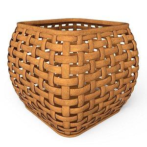 Wicker wooden basket 3D