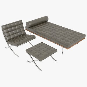 Knoll Brown Leather Barcelona Chair Couch and Stool Ottoman Set model