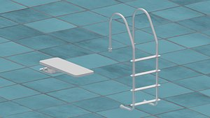 3D model Pool Ladder and Diving Board