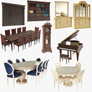 3D Large Classic Wooden Furniture