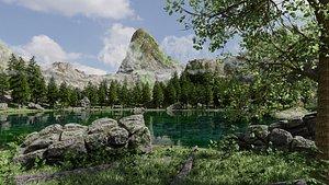 3D scene lake