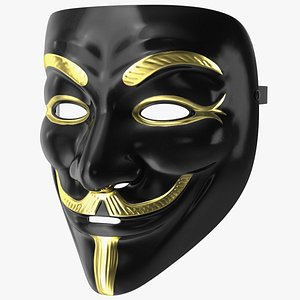 3D model Anonymous Mask Black and Gold