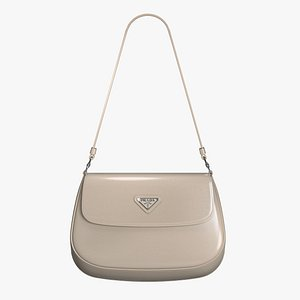 3D Prada Cleo brushed leather shoulder bag with flap Desert Beige