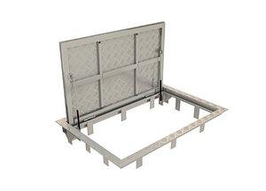 3D steel floor hatch model