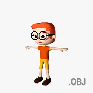 Boy Red Haired - OBJ - Low Poly Quad model