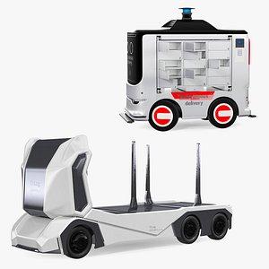 3D Autonomous Electric Robo Trucks  Rigged Collection