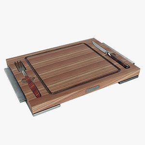 Chopping Board with Cutlery 3D model