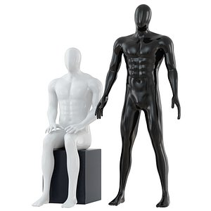 standing seated abstract mannequin 3D model