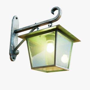 3D model Antique Zinc Wall Lamp