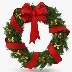 Christmas Wreath with Bows and Ribbon model